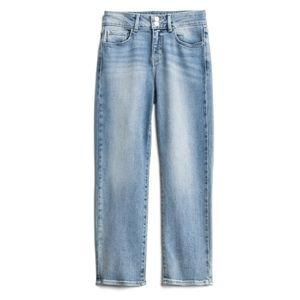 Jasmine Double Button Crop Straight Leg Jean